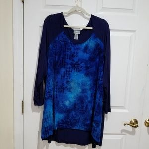 Navy Blue Long Tunic with Paisley Print
